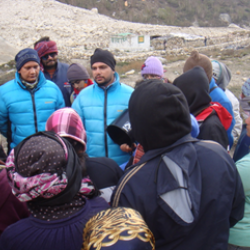 Visitors being briefed about the meteorological conditions around Gangotri Glacier at the observatory near Gangori Glacier